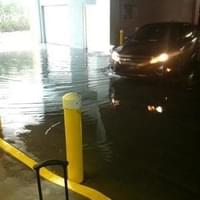 Flooded parking garage, helpful when the valet…