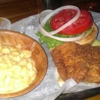 Grouper sammich with lobster Mac m cheese.