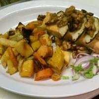 Maine harvest salmon topped with candies apples…
