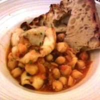 squid and chickpea appetizer