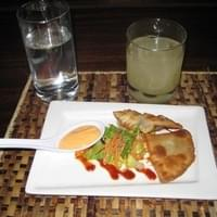 Fataya Appetizer and Ginger Root juice