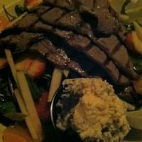 Orchard salad with added strip steak