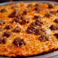 Pizza with sausage and meatballs