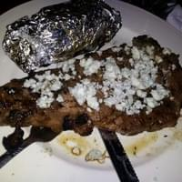Huge, delicious $12 steak with bleu cheese!