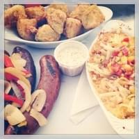 Mixed sausage platter w/ fried green tomatoes &…