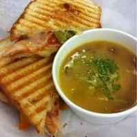 A perfectly grill panini sandwich with homemade…