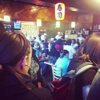 Waiting in line for sushi for lunch.